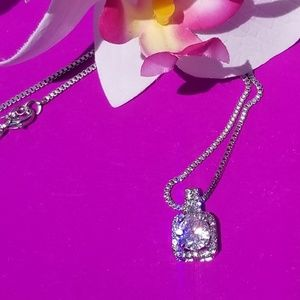 Silver Necklace & Crystal Pendant